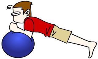腹筋トレーニング3 バランスボール+プランク【腹筋上部・下部】