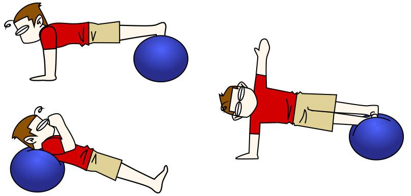 腹筋トレーニング4 バランスボール+プランクのパターン【腹筋上部・下部・腹斜筋・背中】
