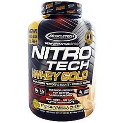【iHerb】Muscletech, ニトロテク, 100%ホエイゴールド, フレンチバニラクリーム, 5.53 lbs. (2.51 kg)