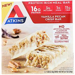 Atkins, Meal Bar, Vanilla Pecan Crisp Bar, 5 bars, 1.69 oz (48 g) Each