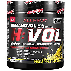 ALLMAX Nutrition, H:VOL、一酸化窒素プレワークアウト + 血管血液増大剤、パインアップルマンゴー、10.1オンス (285 g)
