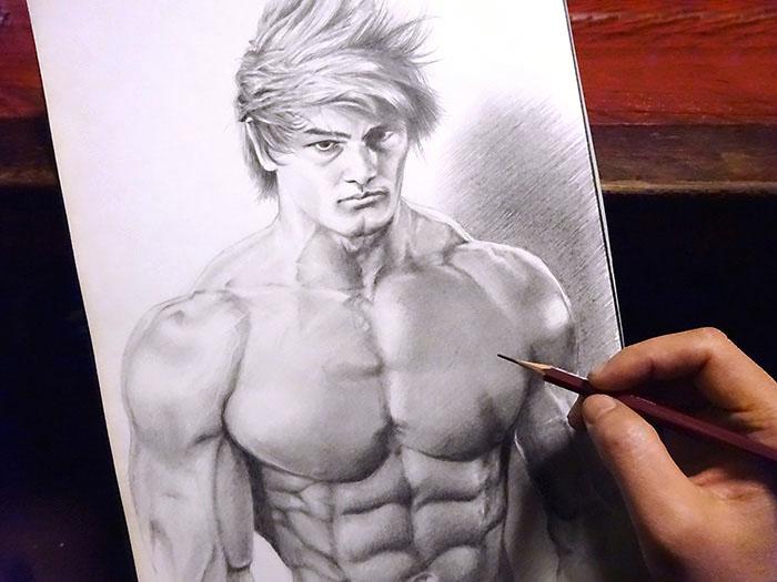 鉛筆画で筋肉を描いてみた! いやマジでwww。