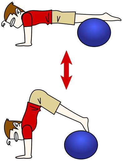 腹筋トレーニング8 バランスボール+ボールパイク【腹筋上部・下部】