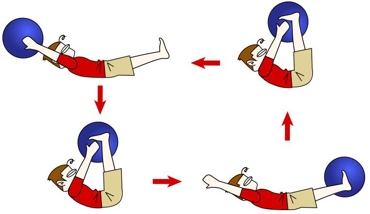 腹筋トレーニング12 バランスボール+ボールVアップパス【腹筋上部・下部・腸腰筋】