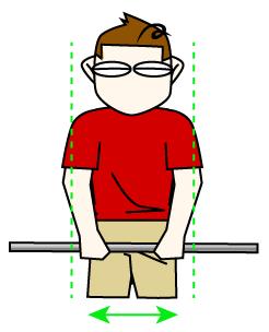 握り幅は肩幅よりちょっと狭め、これが基本の手の位置