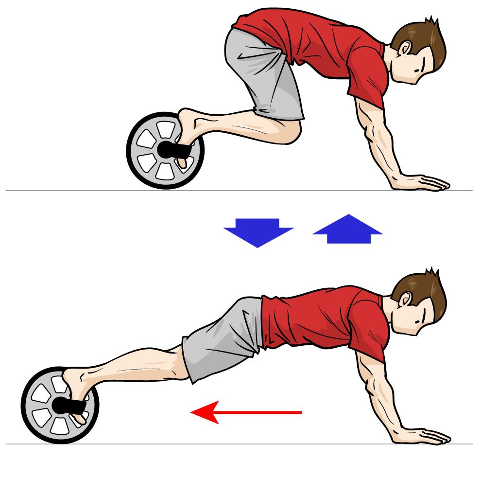 足で行う腹筋ローラー:マンガイラストで筋トレ解説
