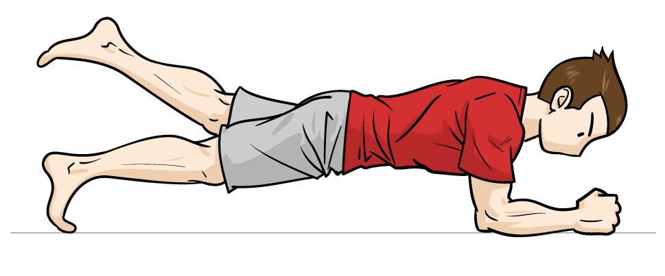 地味に最強、体幹トレーニングの「片足プランク」:マンガイラストで筋トレ解説