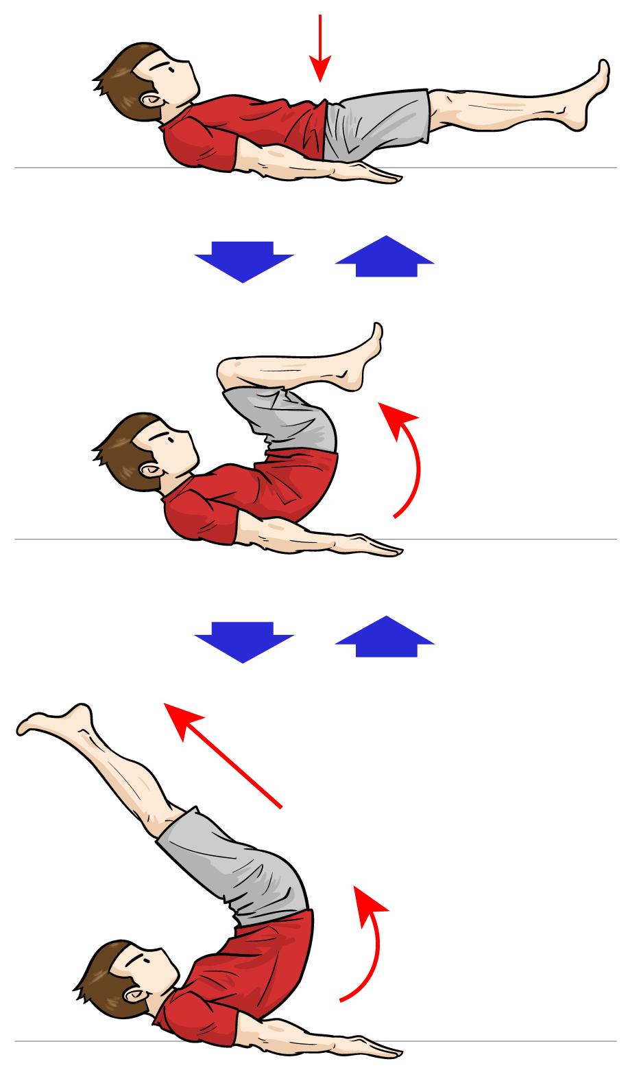 ピンポイントで下腹部を狙うなら「リバースクランチ」:マンガイラストで筋トレ解説