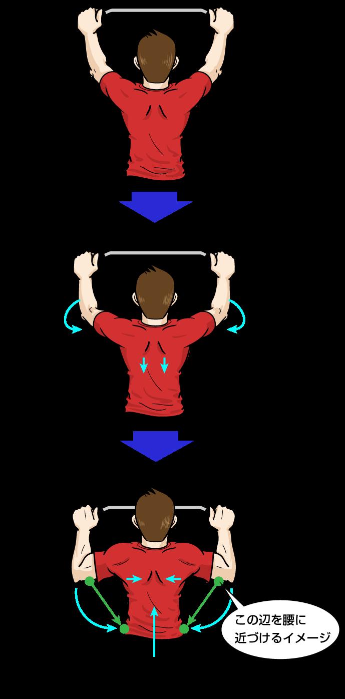懸垂フォーム:ワイドグリップの場合:筋トレをマンガイラスト解説