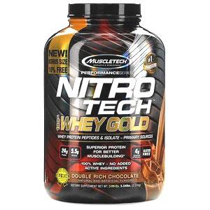 Muscletech, Nitro Tech(ニトロテック)、100%ホエイゴールド、ホエイプロテインパウダー、ダブルリッチチョコレート、2.51kg(5.54ポンド)